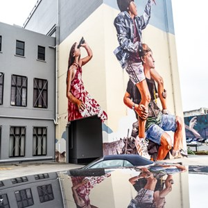 "2018-12-11 - Street art - ""Chasing the Thin White Cloud"" door Fintan Mage<br/>Centrum (mural paintings walk} - Dunedin - Nieuw-Zeeland<br/>Canon EOS 5D Mark III - 24 mm - f/11.0, 1/40 sec, ISO 400"